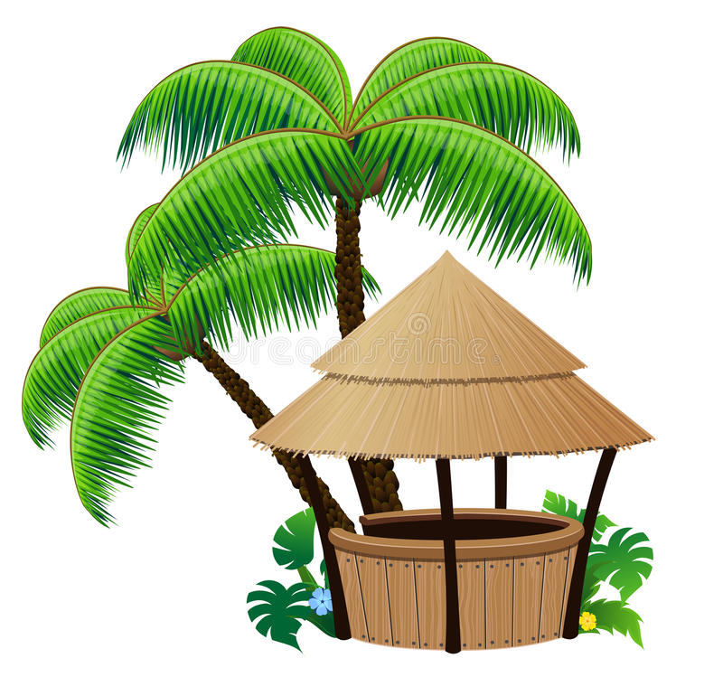 Bungalow bar and palm trees. Bungalow bar and coconut palms on a white background royalty free illustration