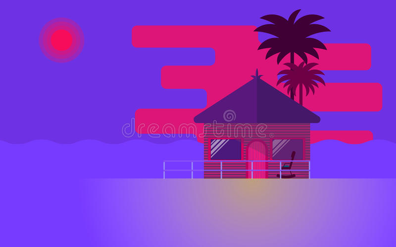 Bungalow. Beautiful summer sunset. Bungalow and palm trees in the beach. Vector illustration stock illustration