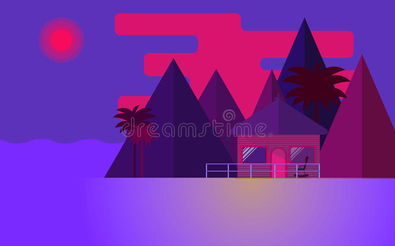 Bungalow. Beautiful summer sunset. Bungalow and palm trees in the beach. Vector illustration vector illustration