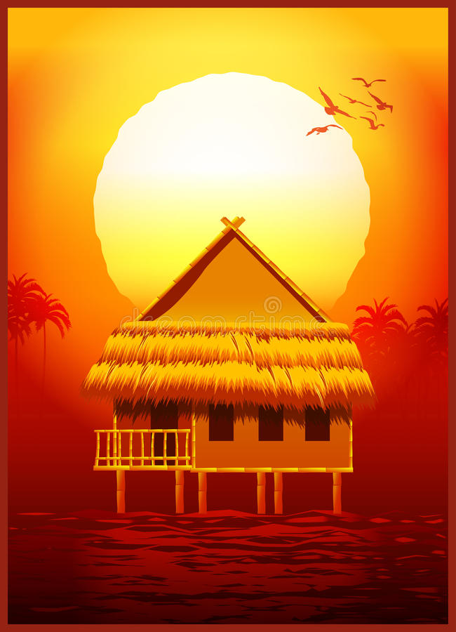Bungalow bij zonsondergang stock illustratie