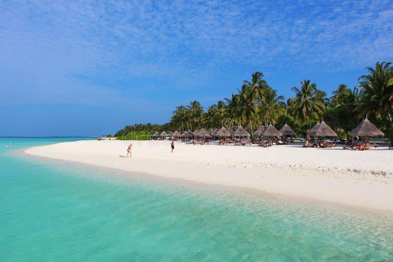 Bungalow con i tetti ricoperti di paglia sulla spiaggia fotografia stock libera da diritti