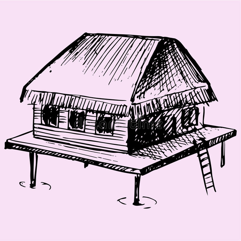 Bungalow. Doodle style sketch illustration hand drawn vector vector illustration