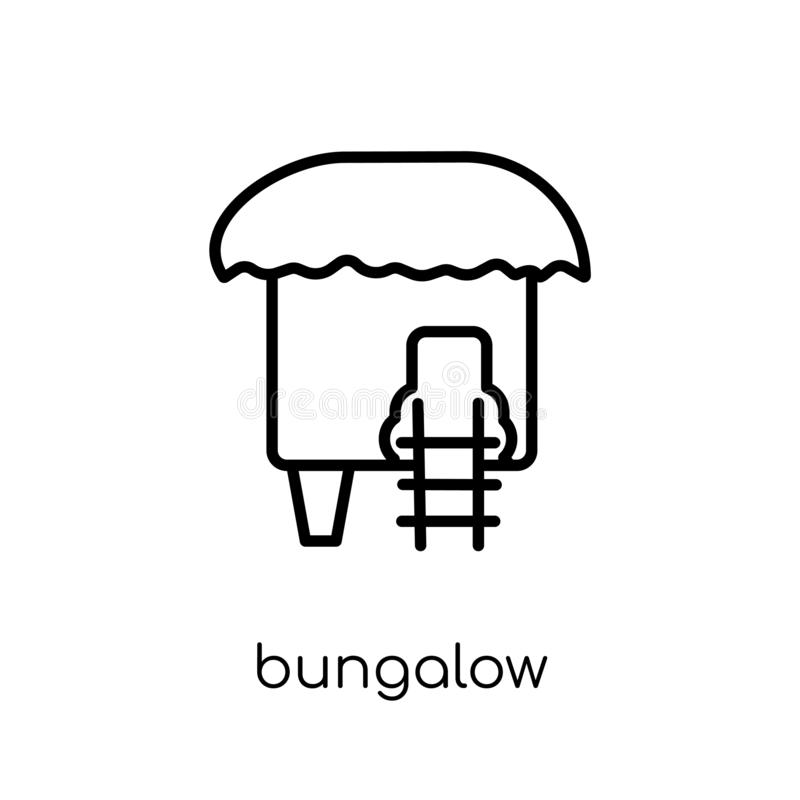 Bungalow icon from collection. Bungalow icon. Trendy modern flat linear vector bungalow icon on white background from thin line collection, outline vector vector illustration