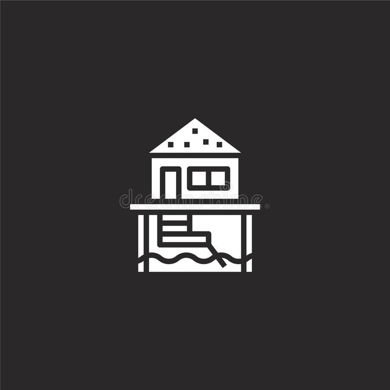 Bungalow icon. Filled bungalow icon for website design and mobile, app development. bungalow icon from filled summer collection. Isolated on black background stock illustration