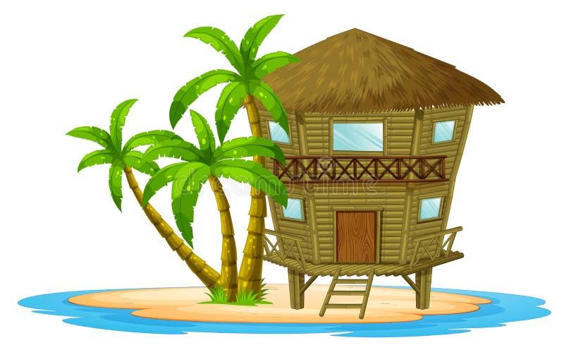 Bungalow on the island. Illustration royalty free illustration