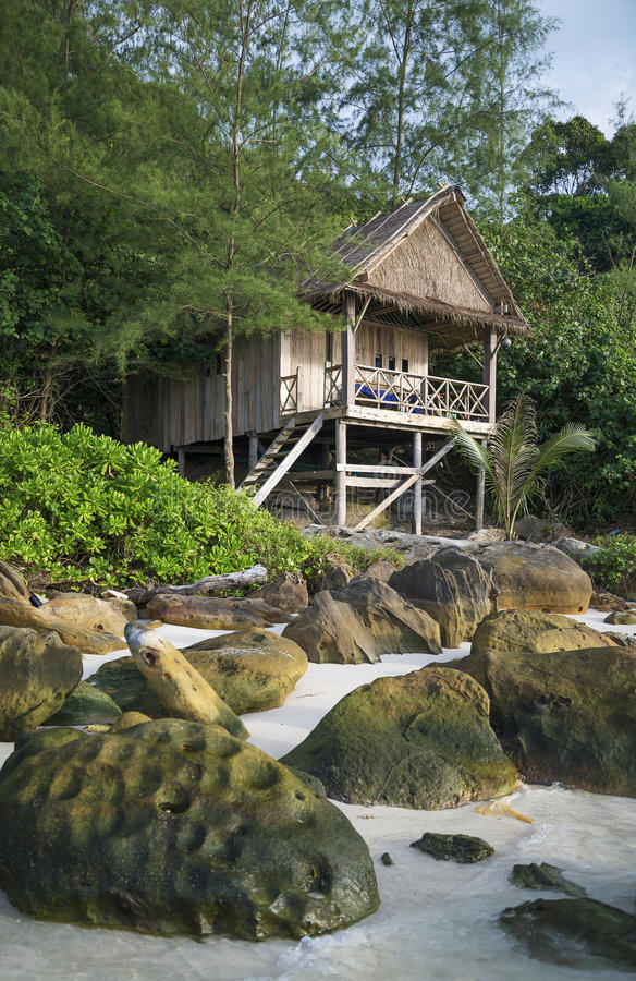 Bungalow in koh rong island beach in cambodia stock images