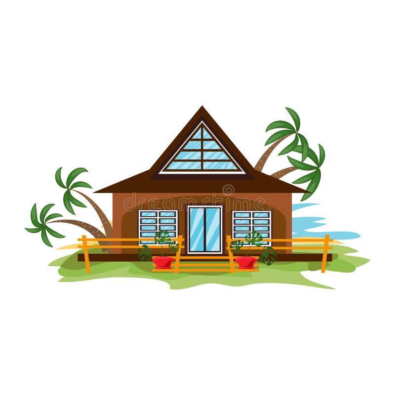 Bungalow met grote vensters omringd door de vectorillustratie van de omheining vector illustratie