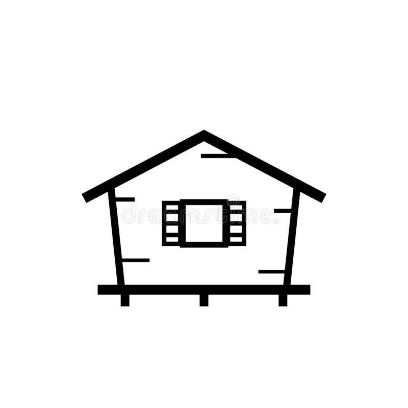 Bungalow outline icon. Clipart image isolated on white background royalty free illustration
