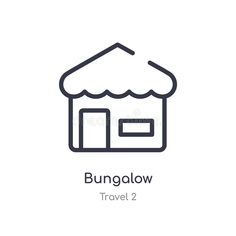 Bungalow outline icon. isolated line vector illustration from travel 2 collection. editable thin stroke bungalow icon on white. Background vector illustration