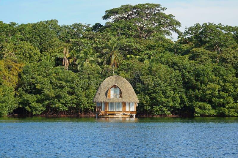 Bungalow overwater overzeese groene vegetatie de Caraïben royalty-vrije stock afbeeldingen