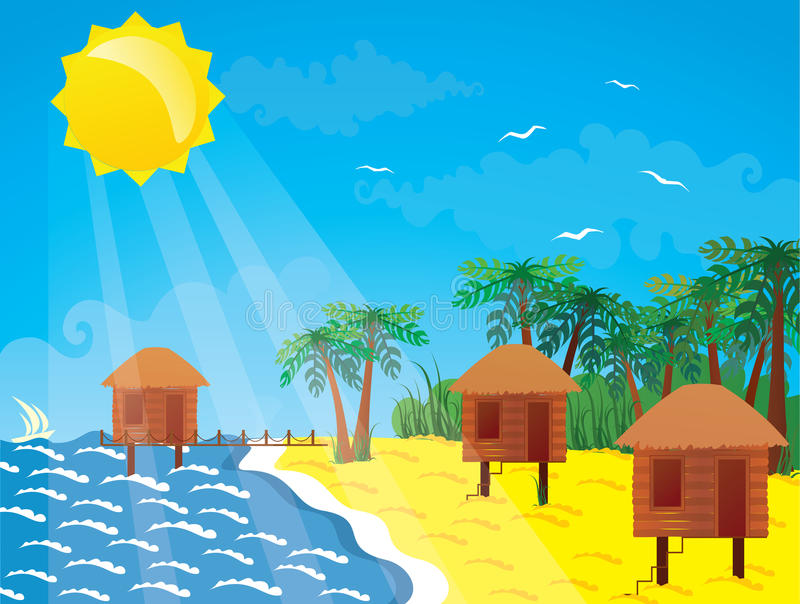 Bungalow by the sea. Vacation on the tropical island. Bungalow by the sea vector illustration