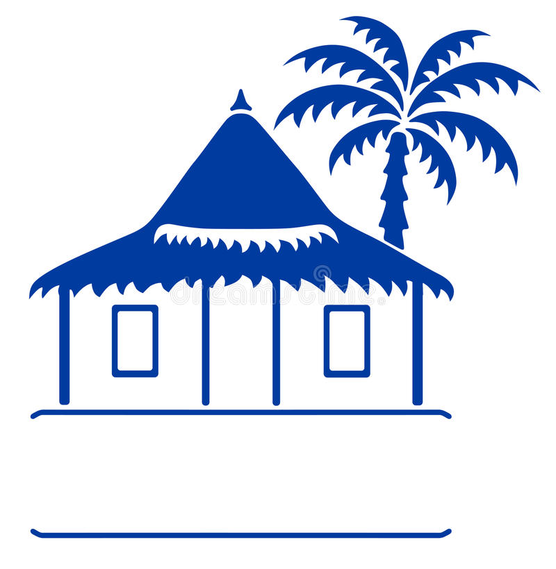Bungalow sign. Vector llustration of a bungalow and tropical palm tree isolated on white vector illustration
