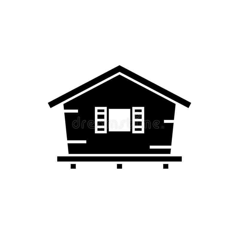 Bungalow silhouette icon. Clipart image isolated on white background stock illustration