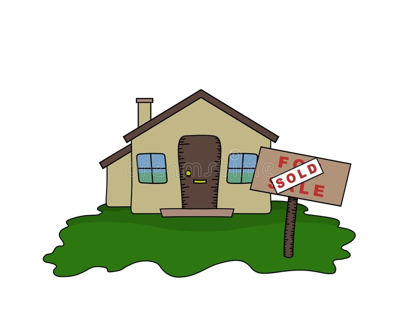 Bungalow sold. Illustrated Bungalow with Sold sign stock illustration