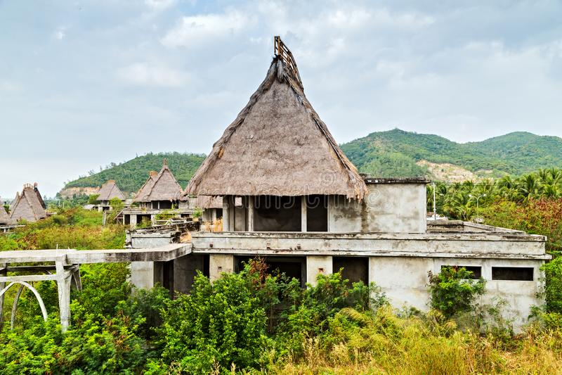 Bungalow Straw Roof hut, Site Asia Eco hotel resort tourism concept. Bungalow Straw Roof Eco hotel resort tourism concept nature background wooden hut tropics in stock image