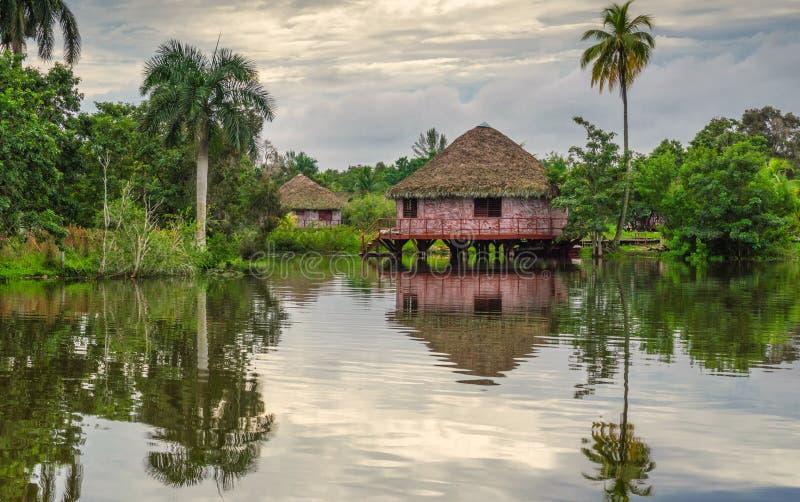 Bungalow sul fiume nella foresta pluviale fotografie stock libere da diritti