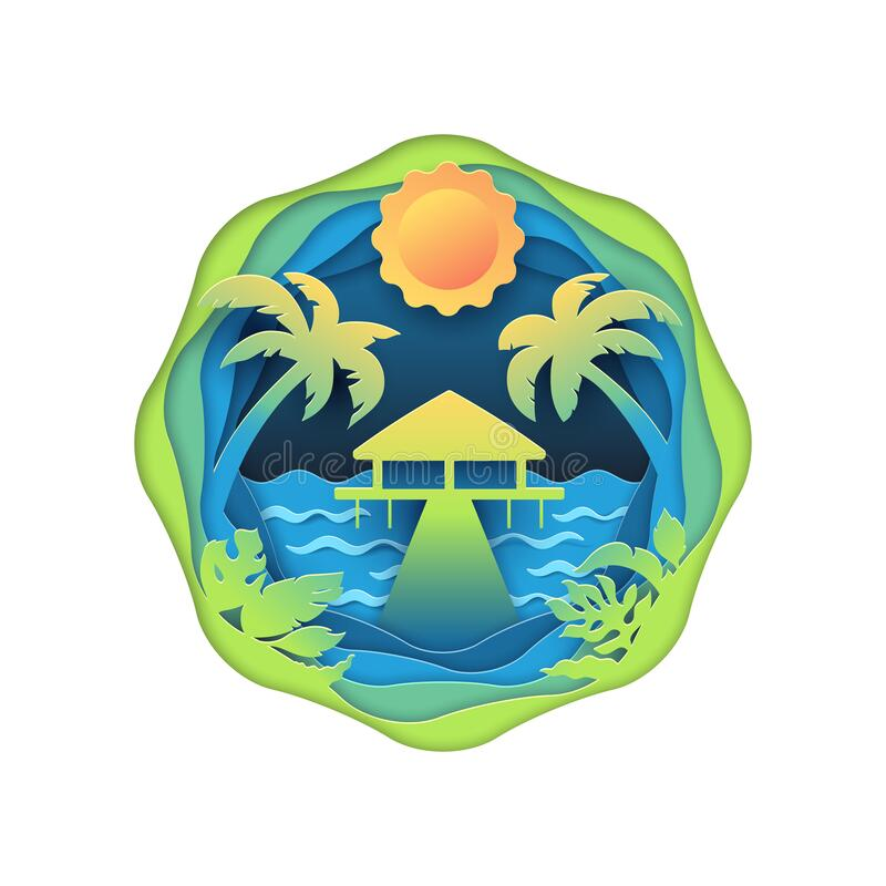 Bungalow on tropical beach. Traveling, sea trip and vacations multi layered paper cut effect illustration. Isolated vector concept royalty free illustration