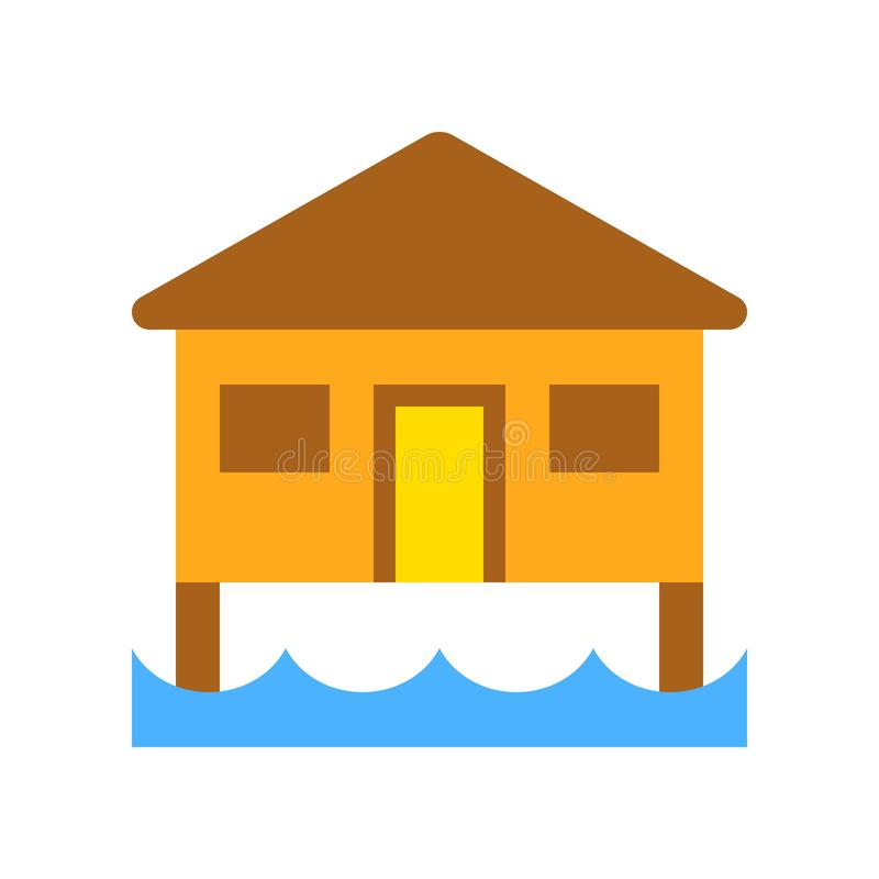 Bungalow vector, tropical related flat style icon. Bungalow vector, tropical related flat design icon vector illustration
