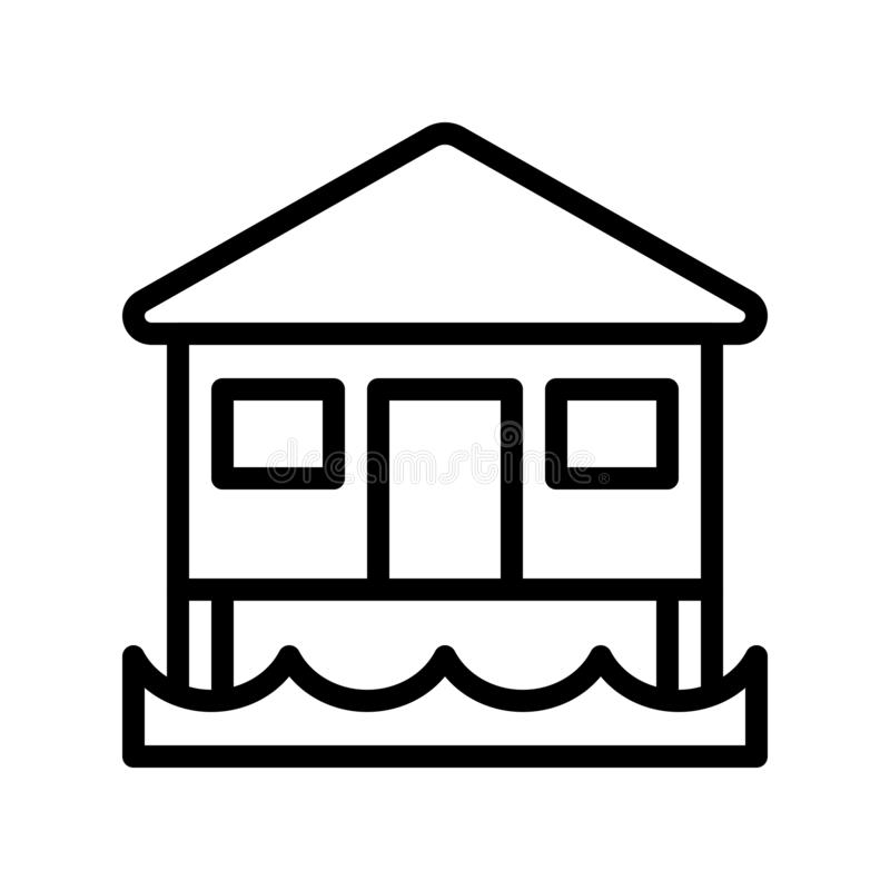 Bungalow vector, tropical related line style icon. Bungalow vector, tropical related line design icon royalty free illustration
