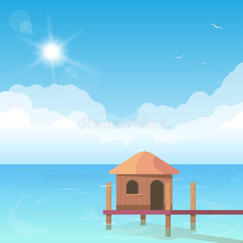 Bungalow on water. Beach bungalow standing in water. Ocean shore hotel hut. Wooden bungalow with ladder and ocean with clouds on background. Bright and big puffy stock illustration