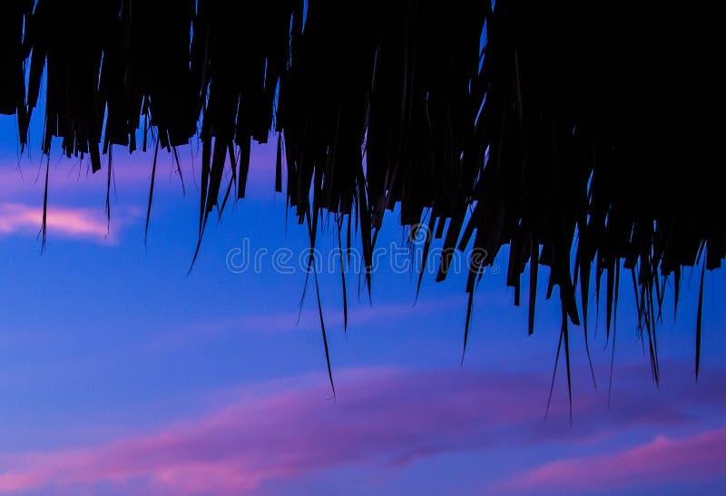 Bungalowhimmel von unterhalb der Seenatur bewölkt Lichter stockfotografie