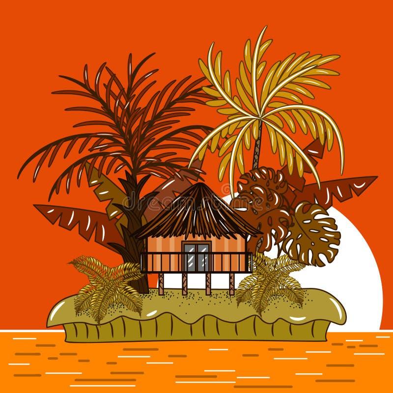 Bungalowhus på den tropiska ön under solnedgång vektor illustrationer