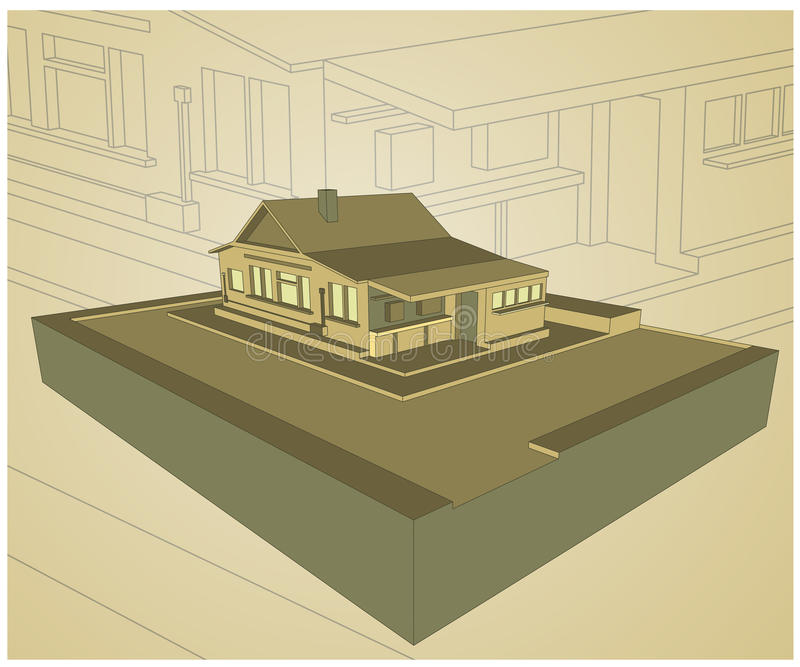 Bungalowhusdesign vektor illustrationer