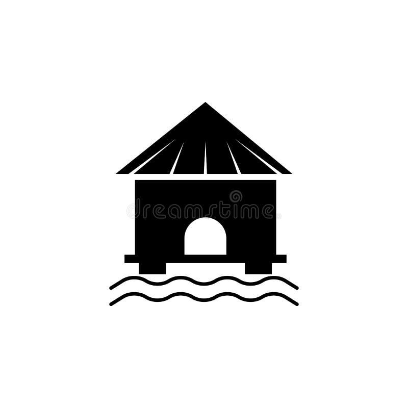Bungalowpictogram Element van het pictogram van de strandvakantie voor mobiel concept en Web apps Het geïsoleerde bungalowpictogr royalty-vrije illustratie