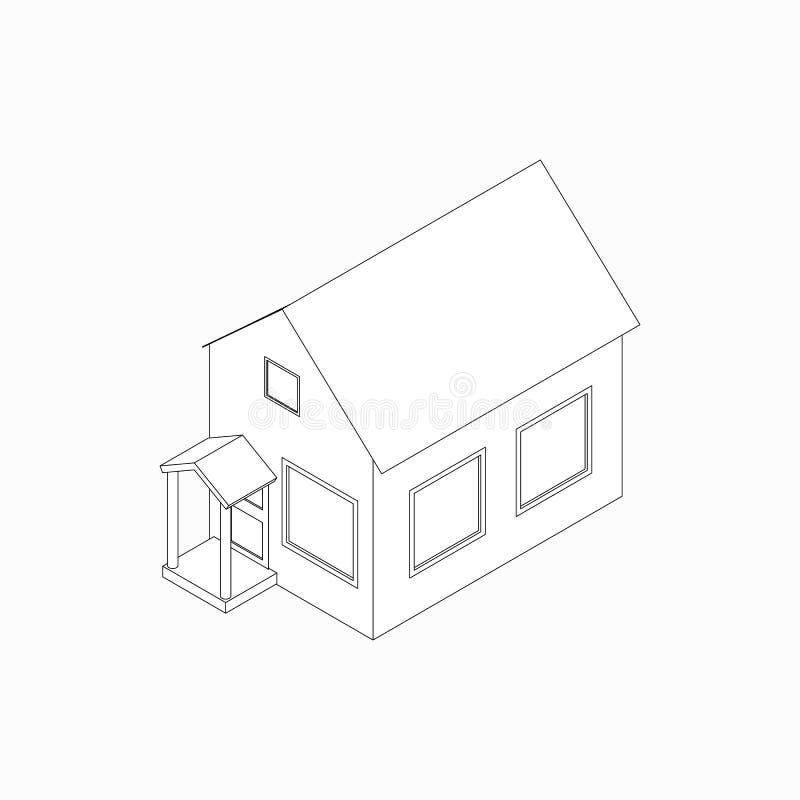 Bungalowpictogram, isometrische 3d stijl royalty-vrije illustratie