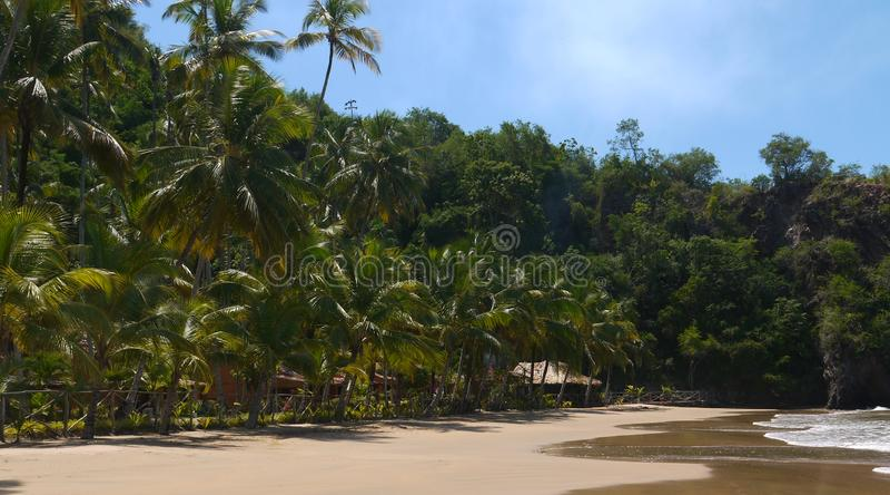 Bungalows am tropischen Strand lizenzfreies stockbild