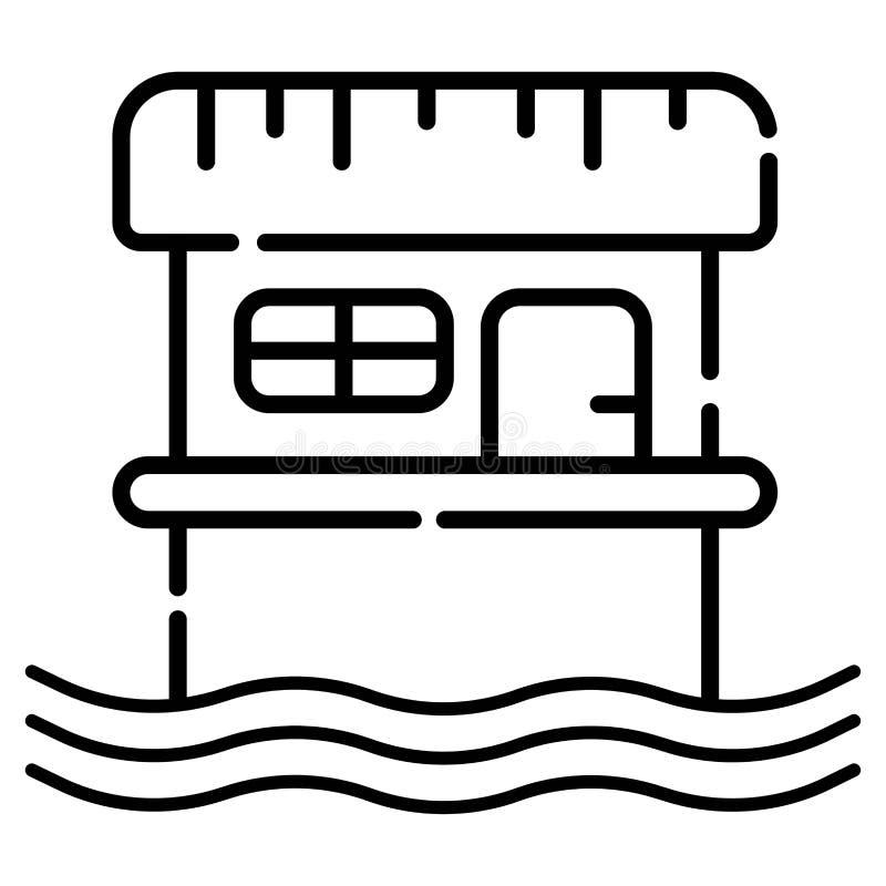 Bungalowsymbolsvektor royaltyfri illustrationer
