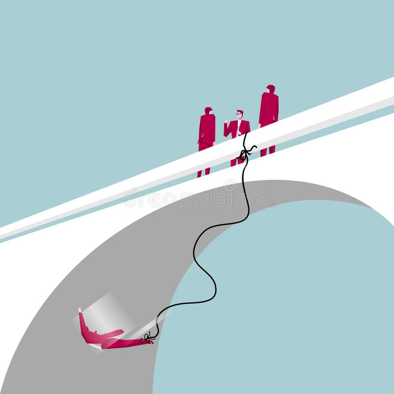 Bungee jumping from bridge. vector illustration