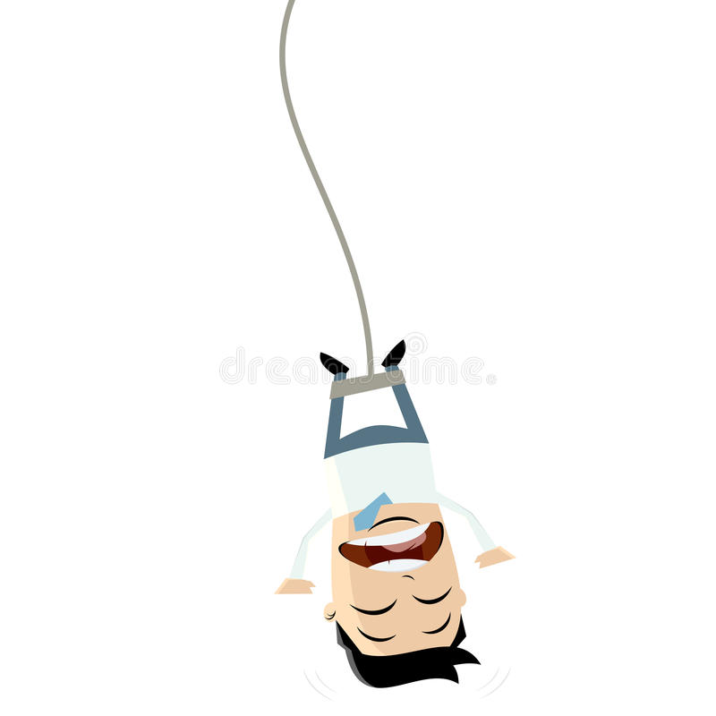Bungee jumping businessman clipart royalty free illustration