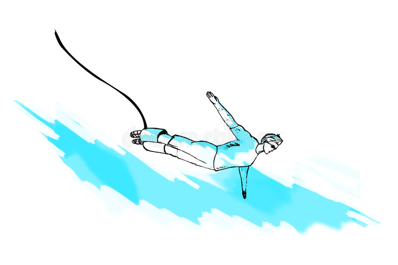 Bungee jumping, jump, illustration. Drawing, painting, sketch vector illustration
