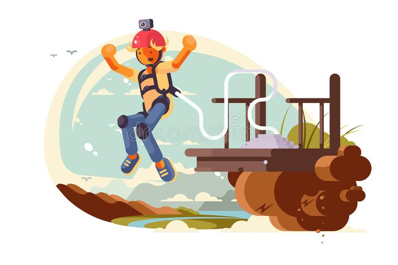 Bungee jumping sport royalty free illustration