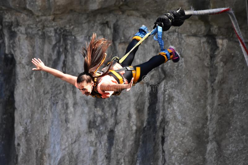 Bungee jumps, extreme and fun sport. Bungee From a high bridge royalty free stock images