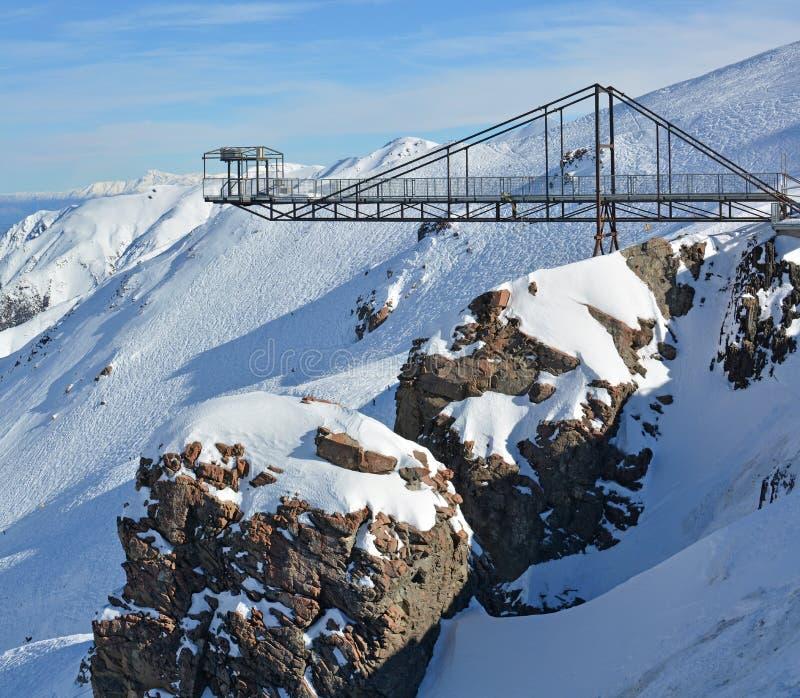 Bungy在登上赫特滑雪领域NZ的跃迁平台 免版税库存图片