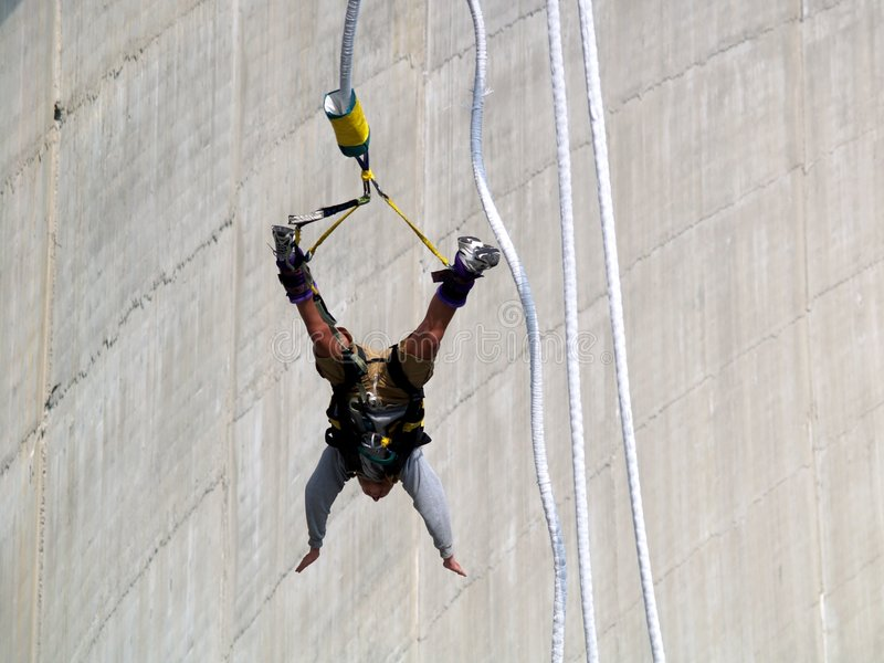 Bungy jumping. From hydroelectric barrage in Verzasca (Switzerland royalty free stock photography