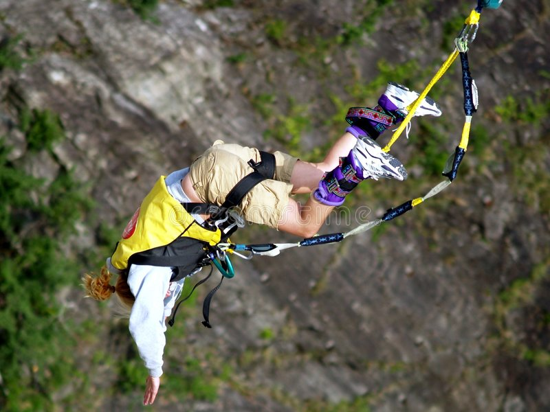Bungy jumping. From hydroelectric barrage in Verzasca (Switzerland royalty free stock photos