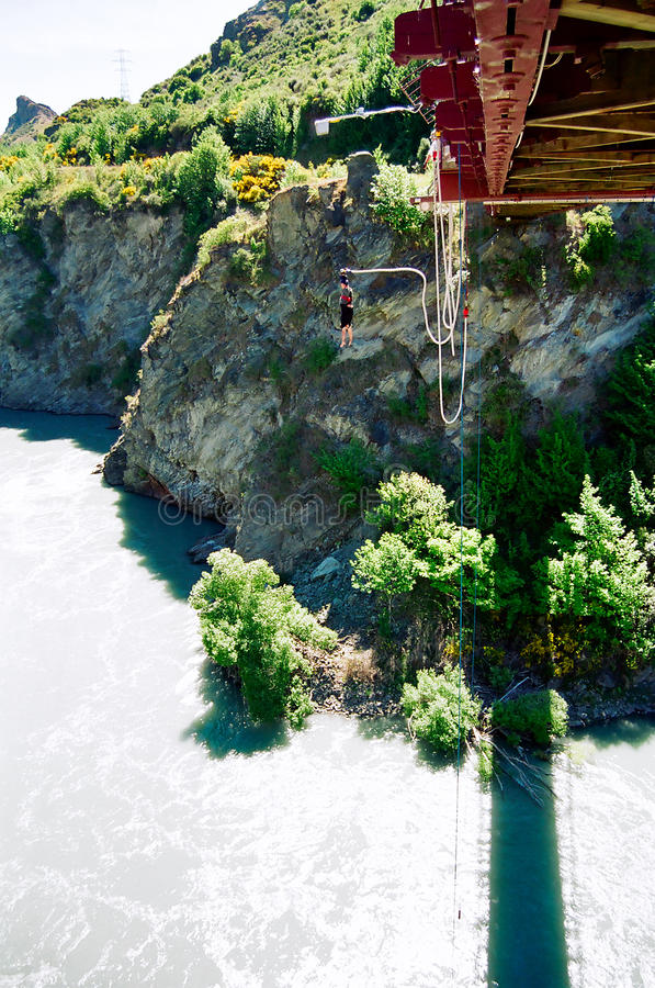 Bungy Jumping, New Zealand royalty free stock images