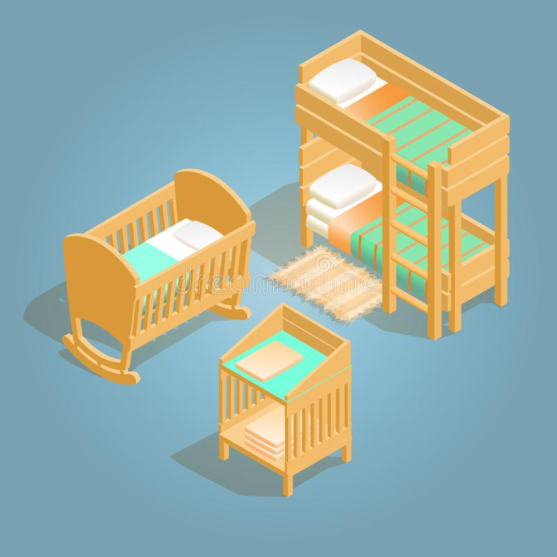 Bunk bed, baby crib, changing table isometric icon. vector illustration
