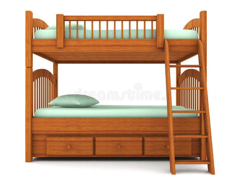 Bunk Bed Isolated On White Background Stock Illustration