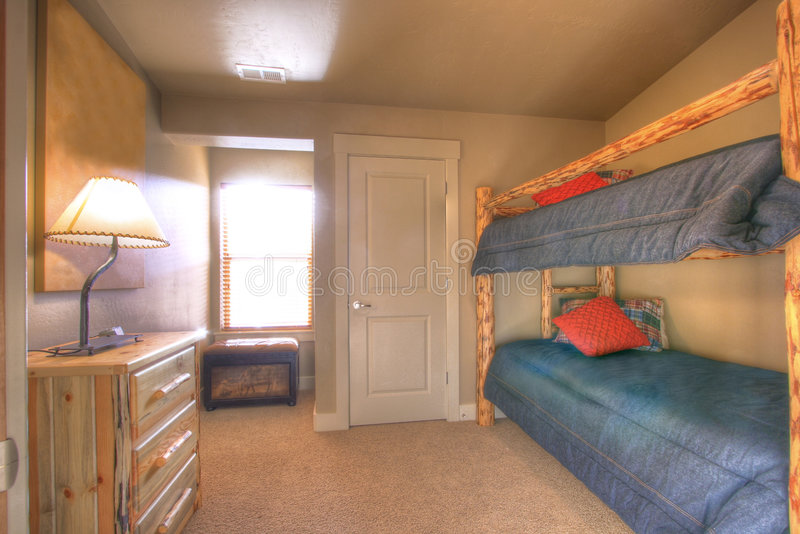 Bunk beds. The bunk bed kids room in a nice home royalty free stock image