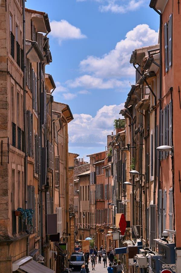Bunk houses on a narrow street stock photo