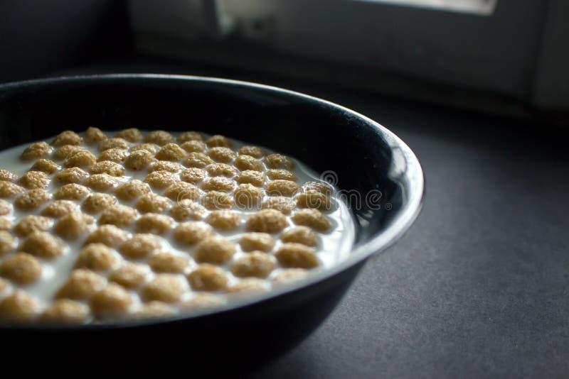 Bunke av cornflakes på mörk bakgrund royaltyfri foto