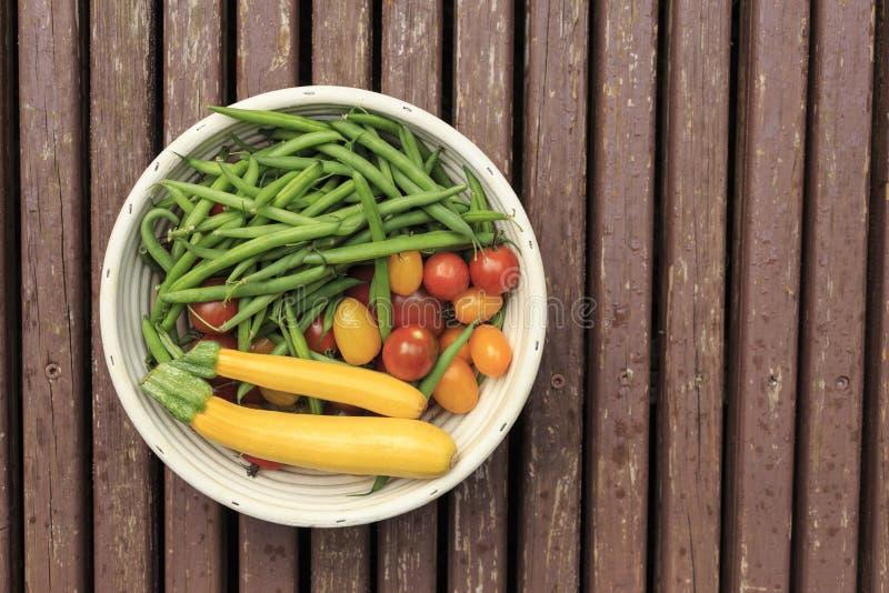 Bunke av nya trädgårds- grönsaker royaltyfri foto