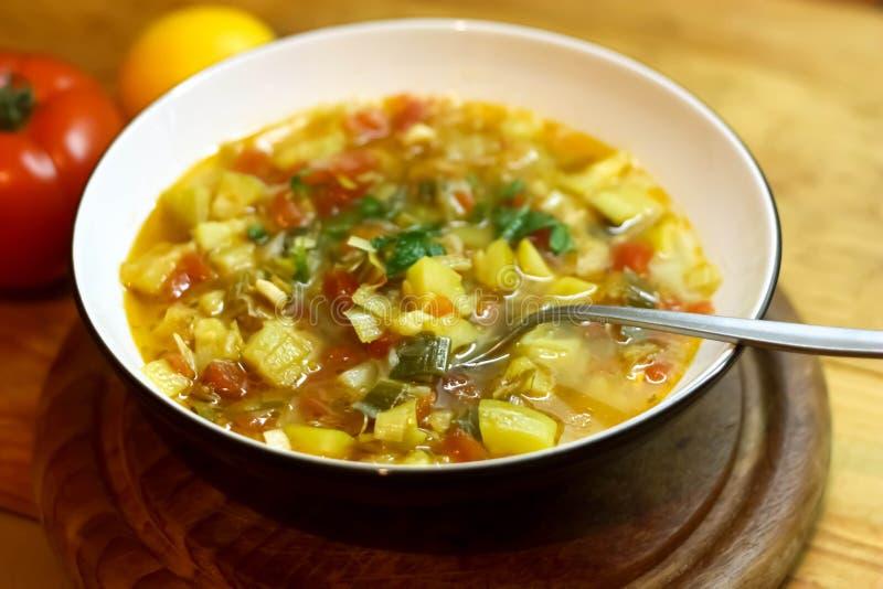 Bunke av soppa för ny grönsak fotografering för bildbyråer