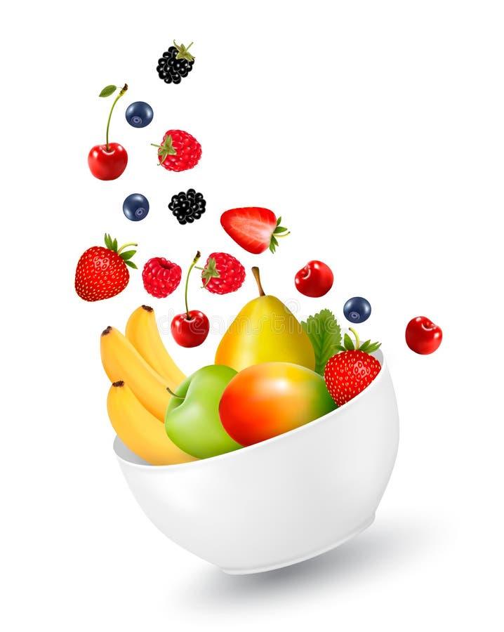 Bunke av sund frukt begreppet bantar stock illustrationer