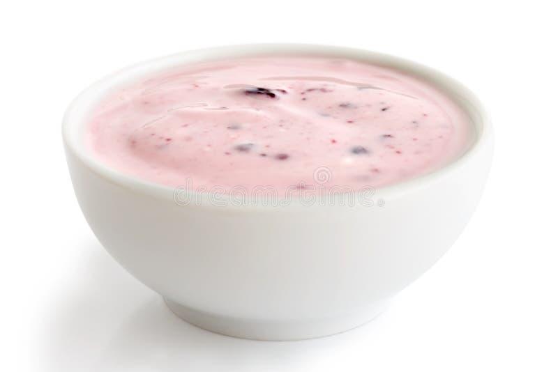 Bunke av yoghurt royaltyfria bilder