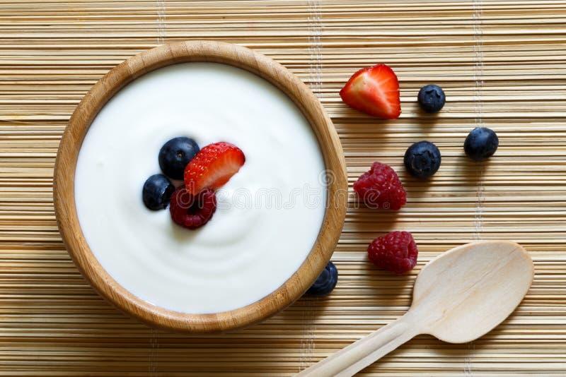 Bunke av yoghurt arkivbild